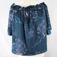 Rachel Roy Off the Shoulder Top Womens 2X Blue Pink Floral Short Sleeve Blouse