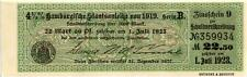 1919 Hamburg, Germany 4 1/2% Engraved Bond Coupon - Redemption Dates in the 20's