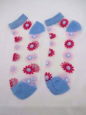 Blue white ankle socks sheer see through pink flowers