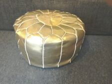 Faux Leather Pouffe (filled) - Gold