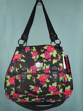 Betsey Johnson Betseyville Black, Red Roses Large Satchel Crossbody Handbag NWT