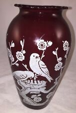 "Fire-king Vintage Hoover 9"" Vase Ruby Red Glass BIRDS & FLOWERS"