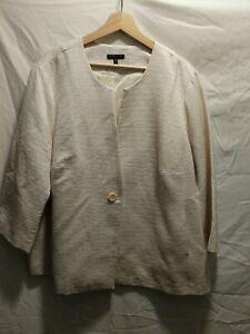 Eileen Fisher Woman White Coat Plus Size 2X