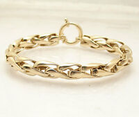 """8"""" All Polished Wheat Spiga Bracelet REAL 14K Yellow Gold 10.50 grams"""