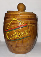 Vintage McCoy Barrel Brown Cookie Jar 1950's USA Cookies