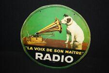 """HMV """"LA VOIX DE SON MAITRE"""" Radio - Werbeschild Pappe - 39,5 cm Durchm. B 1938"""