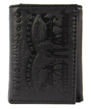 Levi's Men's Coated Leather Credit Card Trifold Wallet Embossed Logo Black