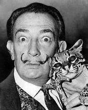 Salvador Dali Surrealist Artist & Pet Ocelot Photo 8x10 Real Canvas Art Print