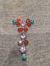 1Pc Sew On Glass Colourful Crystal Rhinestone Rose Gold Metal Dress Applique DIY