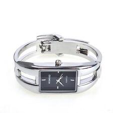 Modern Silver Fashion Alloy Case Bracelet Black Dial Women Quartz Watches