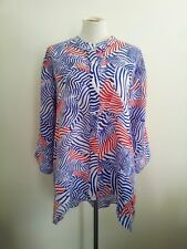 Casual Style! Blue Illusion size 4 red, white & blue ramie hi-lo long sleeve top