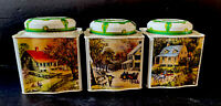 Vintage Metal/tin Canister Set Tea Coffee Sugar Fall Country Prints, Green Beige