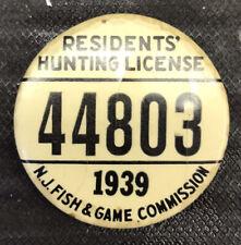 Vintage 1939 NJ fishing license badge, Pin