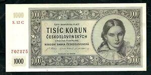 Czechoslovakia (P74) 1,000 Korun 1945 aUNC/UNC
