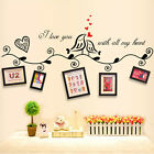 Removable Quote Vinyl PVC Wall Stickers Photo Frame Decals DIY Mural Home Decor