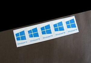 5 PCS Windows 10 Sticker Badge Logo Decal Cyan Color Win 10 USA Seller