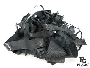 PELGIO Genuine Python Snake Skin Leather Hide Pelt Scraps 100 grams. Black