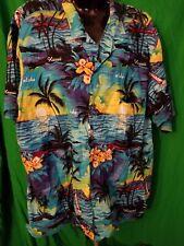 Royal Creations 100%  cotton Palm Tree ocean Button Hawaiian Shirt Mens XXL