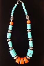 FAUX CORAL TURQUOISE AND METAL LARGE BEADED BIB NECKLACE