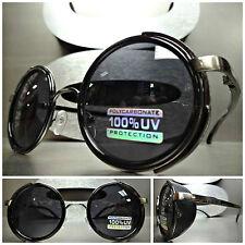 VINTAGE 60s RETRO STEAMPUNK CYBER Round Blinder SUN GLASSES Black Gunmetal Frame