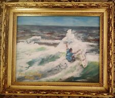 Original Watercolor: Surfing in San Diego by Mark Dowling, Signed