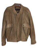 Men's Mirage Classic Style Brown Leather Jacket Bomber Aviator Size Medium NICE