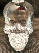 "GLASS CRYSTAL SKULL WITH AMAZING DETAILS 2.5""  X 2.5"" VODKA BOTTLE SEALED CAP"