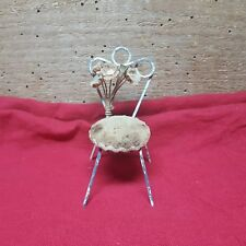 VINTAGE WIRE CHAIR~DOLL HOUSE FURNITURE~'VANITY CHAIR'....<CUTE> 3 1/2 INCHES