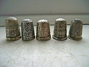5 ANTIQUE THIMBLE STERLING SILVER HALLMARKED 1903 - 1923 - SEE PICTURES