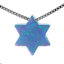 Sterling Silver 925 SKY OPAL Star of David Pendant necklace Jewelry Judaica Gift