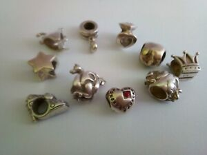Lot 10 Vintage Sterling Silver Charm Beads
