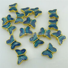 18557 4X Golden Blue Enamel 9mm Mini Butterfly Loose Spacer Beads for Bracelet