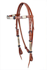 Western Natural Brow band Style Hand Carved Headstall with Congress Concho