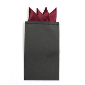 Men Solid 4 Folds Pre-folded Pocket Square Handkerchief Wedding Party Hanky