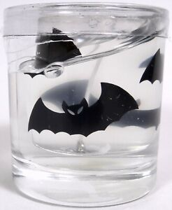 Halloween Gel Candle and Holder Glass Embedded Black Bats New