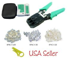Rj45 Rj12 R11 Cat5 Cat6 Lan Network Internet Cable Tester+Crimper Tool Free Plug