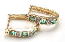 BESTJEWELLERY 10KT YELLOW GOLD SQUARE EMERALD & DIAMOND HOOP EARRINGS   E928
