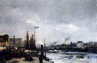 Oil painting louis robert carrier belleuse - le havre ancient harbor landscape