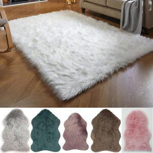 Modern Faux Fur Sheepskin Luxurious Glamour Plain Fluffy Super Soft Shaggy Rugs