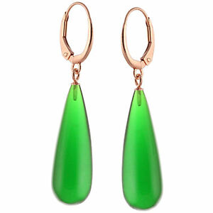 14k Rose Gold Over Silver Natural AAA Smooth Emerald Quartz Leverback Earrings