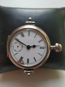 MENS SOLID SILVER OMEGA EARLY TRENCH WRISTLET WATCH MONTRE SWING LUGS 35.8MM