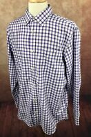 Banana Republic Men's Non Iron Slim Fit Purple Check Shirt Size XL