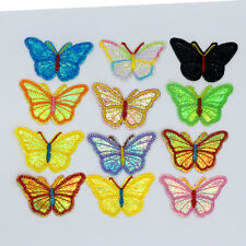 12PCS Sequin butterfly Embroidered Clothes Iron On Patches Motif Appliques badge