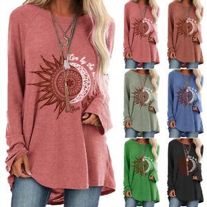 Plus Size Boho Ladies Long Sleeve Blouse T-Shirt Women Hippie Loose Tunic Top!