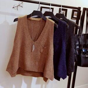 Women Knit Vest V Neck Sleeveless Loose Sweater Pockets Jumper Pullover Top New
