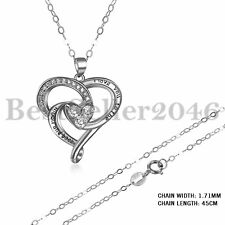 925 Sterling Silber I Love You To The Moon and Back Liebe Herz Anhänger Halskett