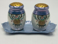 Vintage Noritake Salt & Pepper Shakers with Blue Tray-Lovely!