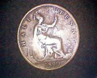 1890 GREAT BRITAIN HALF PENNY 1/2 PENNY KM#754 INV#17795