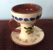 LONGPARK TORQUAY MOTTO WARE CANDLE HOLDER, IN07, SOME DAMAGE, FLORAL 8 CMS HIGH