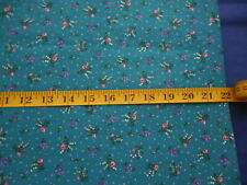 Vintage Teal Cotton Calico Floral Fabric 1.9 Yds